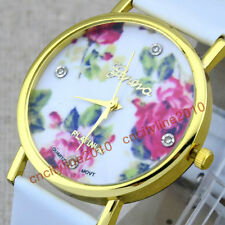Fashion Leather Band Rose Flowers Watch For Women's Crystal Dress Quartz Watches