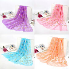 Women Fashion Georgette Long Wrap Shawl Beach Chiffon Gilding Butterfly Scarf