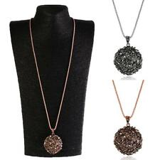 Women Vintage Flower Ball Charm Pendant Long Chain Sweater Necklace Jewelry Gift