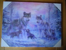 WOLF FAMILY 3D WALL ART PICTURE, BLUES AND PINKS.