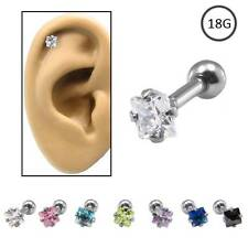 Ear Cartilage Helix Tragus Piercing Ring 316L Surgical Steel 3mm Square CZ 18G