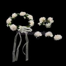 Pearl Crystal Wedding Bride Floral Crown Garland Wrist Finger Flower Set 7Colors