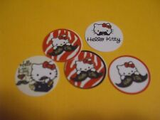 Pre Cut One Inch HELLO KITTY MUSTACHE Bottle Cap Images! FREE SHIP