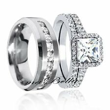 Classy His Stainless Steel Hers Sterling Silver Engagement Wedding Ring Band Set