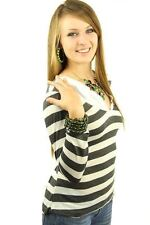 DEALZONE Gorgeous Striped Collar Top L Large Women Gray Career Long Sleeve