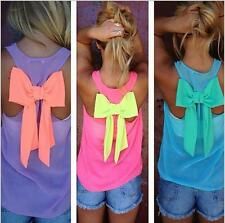Women Chic Sleeveless Shirt Back Bowknot Vest Top Tank Hot Free Shipping 4 color