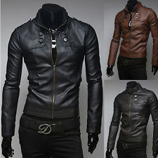 Men Slim Motorcycle Biker Punk Bomber Stand Collar Jacket Coat PU Leather Zipper