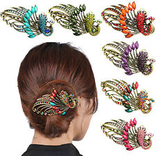 New Women Retro Peacock Rhinestone Crystal Fancy Hair Clip Pin Barrette Jewelry