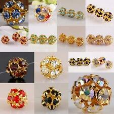 Wholesale Crystal Rhinestone Gold Ball Spacer Beads Jewelry Findings 8/10/12mm