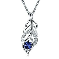 Women 925 Sterling Silver plated Chain Diamond Leaf Necklace With Pendant