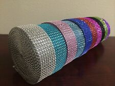 "1.5"" 8 Rows Diamond Rhinestone Crystal Mesh Ribbon Wrap 1 yard 5 yard 10 yard"