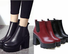 Ladies High Heel Pumps Military Leather Wedge Shoes Chelsea Ankle platform Boots