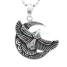 Men's Vintage Stainless Steel Silver Gold Moon Eagle Pendant Necklace Ball Chain