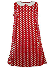 NEW RETRO MOD SIXTIES 60s BABY DOLL TRAPEZE SHIFT DRESS POLKA DOT RED MC283 C176