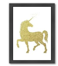 Americanflat Peach & Gold Unicorn Framed Graphic Art in Gold Glitter