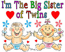 BIG  SISTER T-SHIRT- OF TWINS BY ED SEEMAN- FREE CUSTOMIZING
