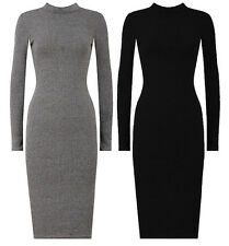 NEW LADIES TURTLE NECK LONG SLEEVE RIBBED KNITTED MIDI JUMPER DRESS SIZE 10-16