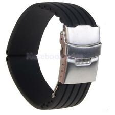Black Silicone Rubber Watch Strap Band Deployment Buckle Waterproof 20mm -24mm