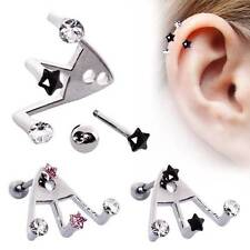 316L Surgical Steel Ear Cartilage Lobe Ring Star CZ Triple Trident 18 Gauge 18G
