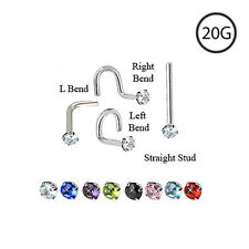 Titanium Nose Stud Screw Ring Jewelry Piercing 1.5mm Round Gem CZ 20 Gauge 20G