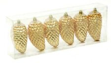 Festive Set of 6 Shatterproof Christmas Tree Decorations in Red Gold & Silver