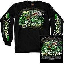 2015 Sturgis Motorcycle Rally Skeleton Cycle Black Long  Sleeve shirt
