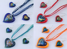 Murano Glass Heart Necklace and earring set