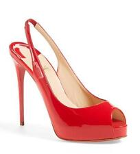 Christian Louboutin PRIVATE NUMBER Patent Slingback Heel Pumps Shoes Red $795