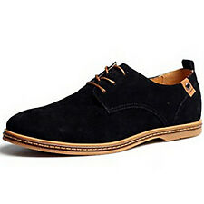 Hot Mens Casual Oxfords Flats Shoes Faux Suede Leather Lace Up Moccasins Loafers