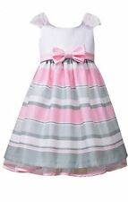 Bonnie Jean Girls Ivory Pink Striped Shantung Easter Social Dress 2T 3T 4T New