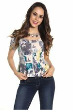 DEALZONE Trendy Floral Print Sweater Top S Small Women Other Casual 3/4 Sleeve