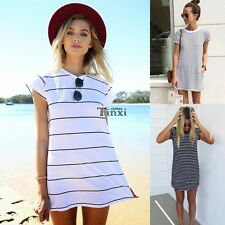 Women Summer Casual Crew Neck Short Sleeve Striped Loose Long T-Shirt Top blouse