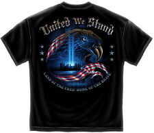 New Black T-Shirt with front & back United We Stand 9/11 Memorial Imprint