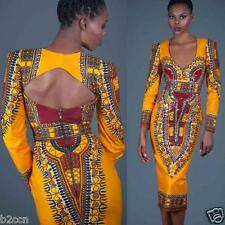 New Women Sexy Deep V-Neck Backless Traditional African Print Formal Party Dress