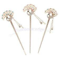 Hot Vintage Faux Pearl Crystal Rhinestone Peacock Tassel Hair Stick Pin Clip