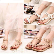 Summer Bohemia Sweet Beaded Women's Sandals Clip Toe Sandals Beach Flower Shoes