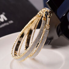 Crystal Diamante Ear Hoop Round Earrings Jewelry Women Fashion Simple Women New