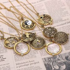 Retro Gold Magnifying Glass Long Owl Elephant Dragonfly Pendant Necklace+A Box