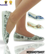 Womens Fashion Print Slip On Flat Plimsolls Sneakers Trainers Pumps Skater Shoes