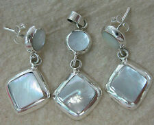 100% REAL 925 STERLING SILVER Mother Of Pearl  Earrings & Pendant (set) WOMEN