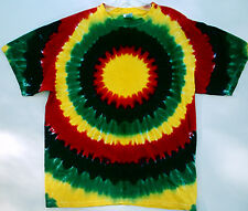 Hand-dyed Tie Dye T-Shirt Bold Vibrant  RASTA Colors SUN Size Small & YL