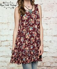 NWT Boutique Easel Ruffle Floral Tunic Top - Burgundy - Small, Medium & Large
