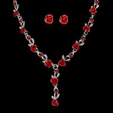 Women Rose Wedding Bridal Jewelry Crystal Rhinestone Necklace Earrings Set Gifts
