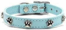 Choose Size - Leather Dog Puppy Collar with Paw Charms - Made In USA - Blue