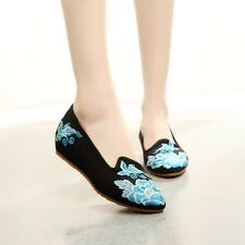 Fashion Women Pumps Flats Slip On Casual Ballerina Loafers Embroider Shoes B