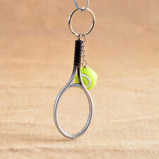 Mini Tennis Ball and Alloy Racket Charm Pendant Keyring Keychain Key Chain Gift