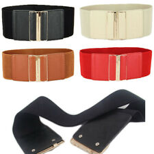 Women Fashion Metal Buckle Wide Stretch Elastic Waist Band Corset Belt Waistband