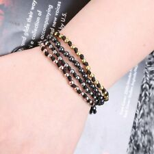 Men's Silver/Gold Beaded Beads Braided Macrame Bracelet Adjustable Unisex Gifts