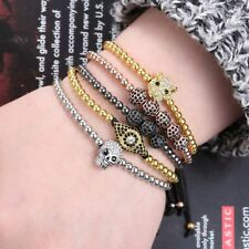 Fashion Mens Jewelry Evil Eye 18K Macrame Charms Macrame Beads Bracelet Bangle