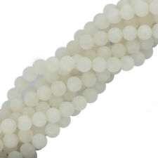 6mm 8mm Round Craft White Jade Gemstone Round Loose Beads Jewelry Making 15""